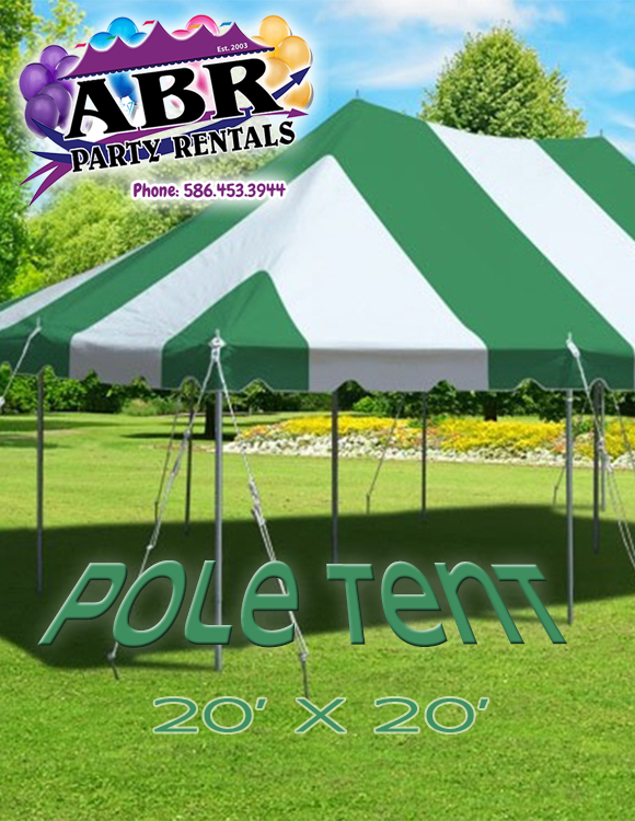 20 x 20 Green White Pole Tent